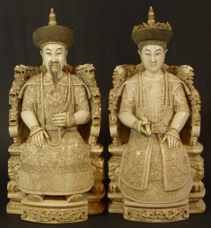 130: Pr CHINESE IVORY SEATED EMPEROR & EMPRESS FIGURES on ...