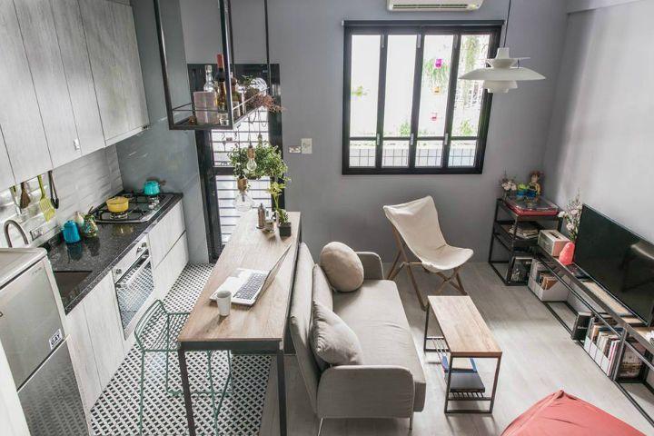 Kche, Wohnzimmer und Schlafzimmer in einem Raum. Schlau ...