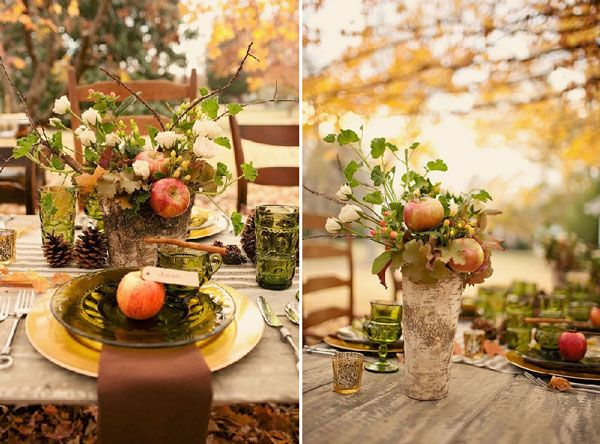 un centre de table aux couleurs de l 39 automne centres de table table arbre et deco centre de table. Black Bedroom Furniture Sets. Home Design Ideas