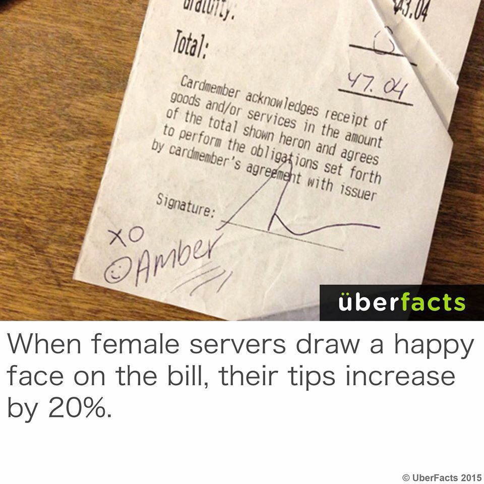 I'll remember that if I ever become a waitress | Fun facts