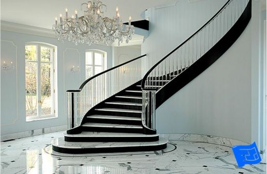 Hereu0027s An Example Of A Curved Stair Wrap. And Check Out The Glass Balusters!