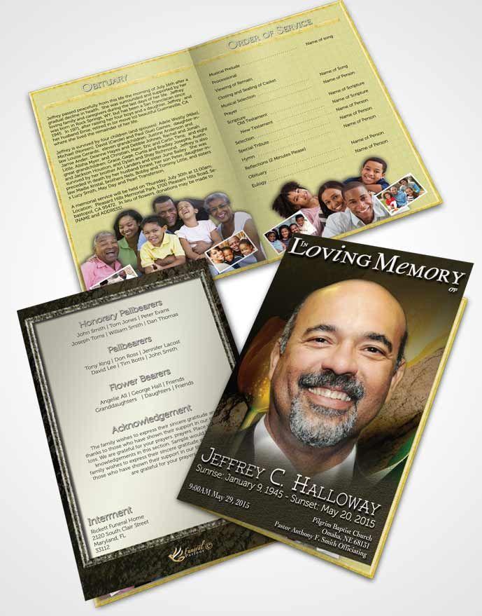 Bifold Order of Service Obituary Template Brochure Summer Tulip