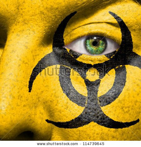 Biohazard Symbol Painted On Face With Green Eye To Raise Awareness