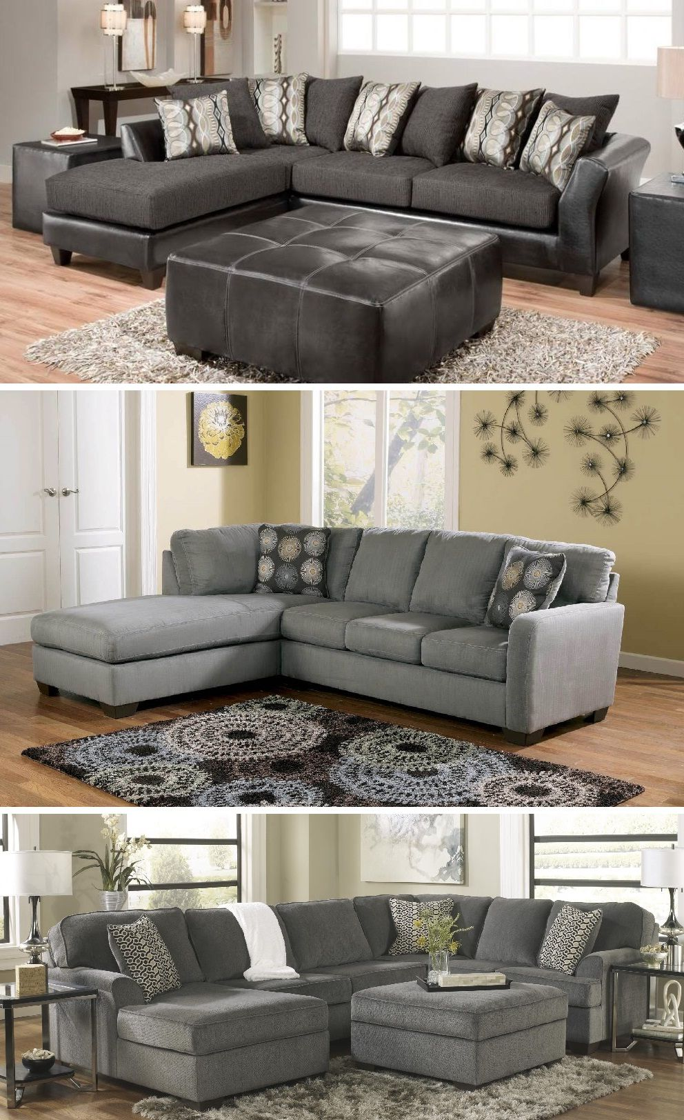 Charcoal Gray Sectional Sofa With Chaise Lounge Couches And