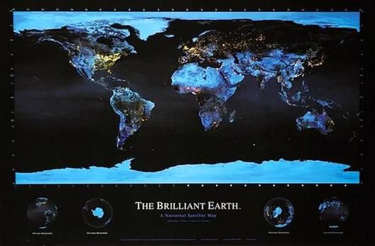 Brilliant Earth Satellite Image Map The World At Night From - Satellite world map poster