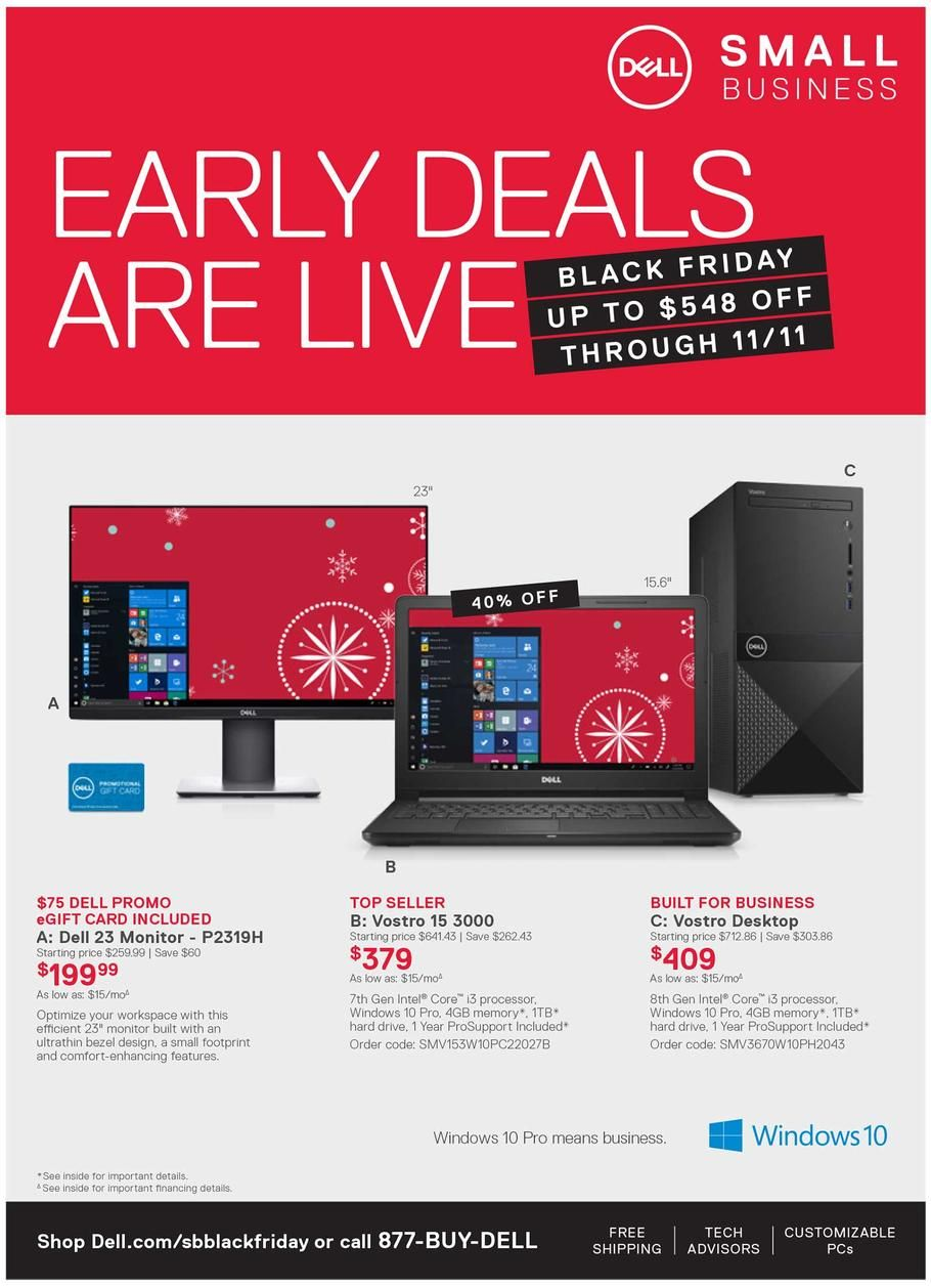 Dell Small Business Early Black Friday 2018 Ads Scan Deals And Sales See The Dell Small Business Early Black Friday Ad 2018 At 101blackfriday Com Find The Bes