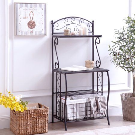 Home Bakers Rack Storage Baskets Microwave Stand