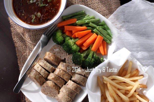Galantine Daging Sapi Ayam Dengan Sayuran Rebus Dan Kentang Goreng Resep Makanan Daging Sapi Kentang Goreng