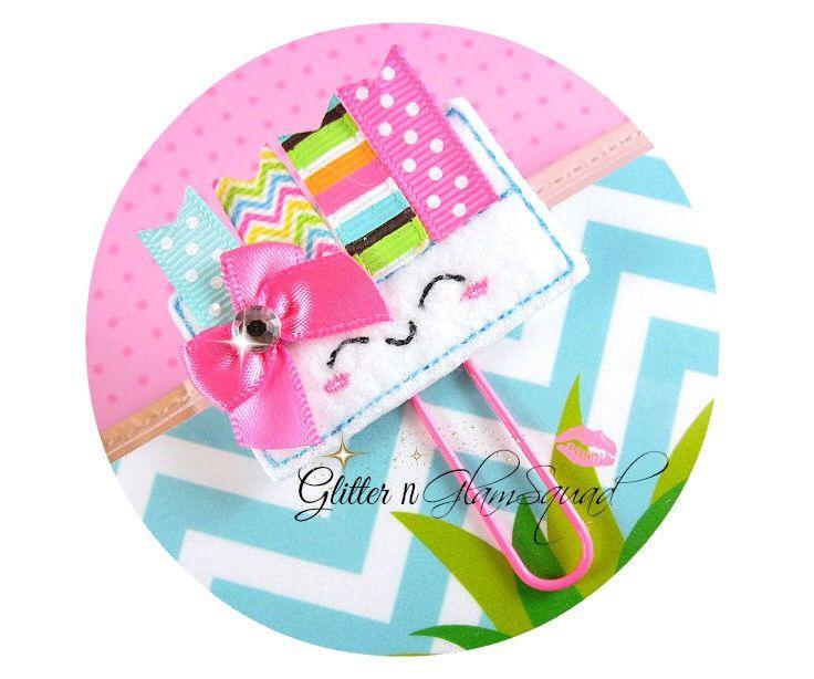 Ribbon Planner Tags Planner Clip, Felt Paper clips for Planners, Planner accessories, Felt Paper Clip, Paperclip, Felt Planner clips by GlitterNGlamSquad on Etsy https://www.etsy.com/listing/466847017/ribbon-planner-tags-planner-clip-felt