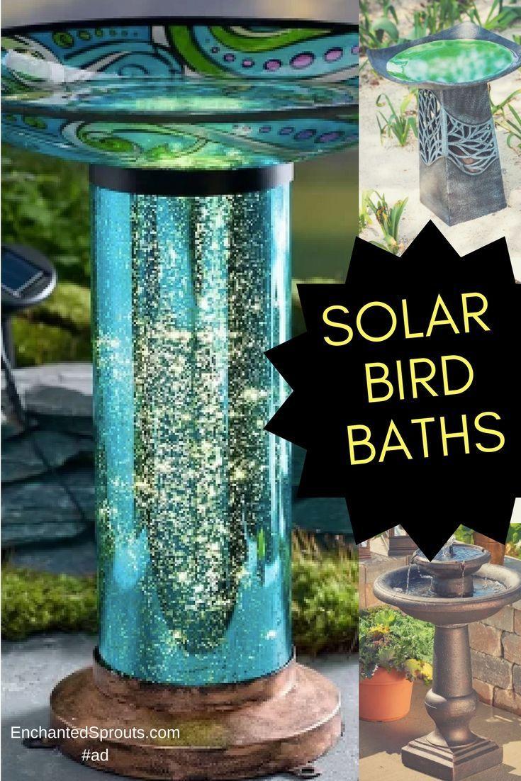 I love these solar powered Bird Baths. Some with solar powered ...