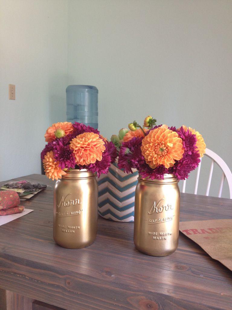 Spray painted mason jars with fall flowers holidays pinterest