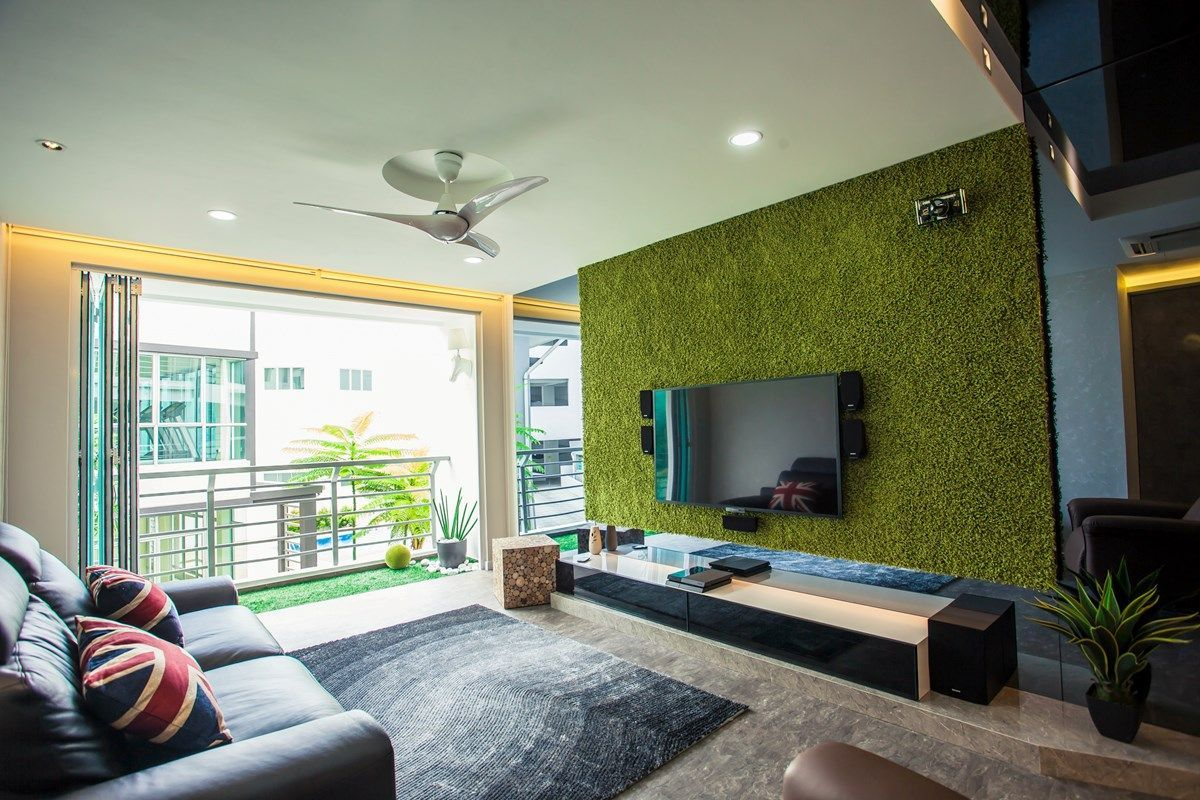 The Artificial Grass Wall Panel Helps Give The Living Area The Feel Of Being More Alive