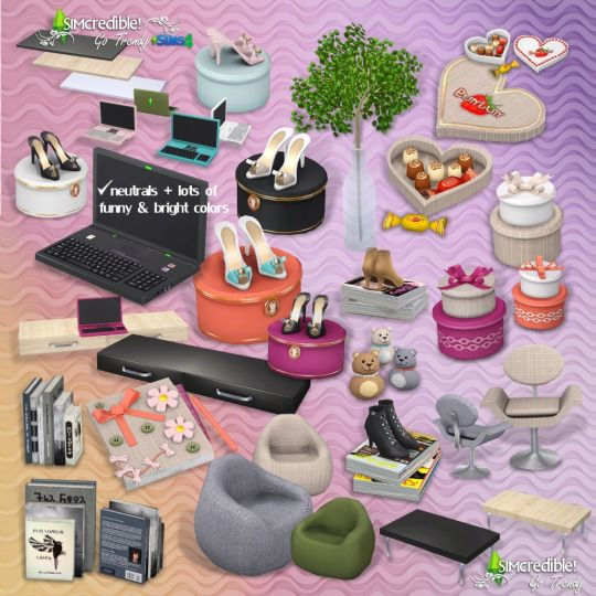 Sims 4 Go Trendy Add Ons Free O OfficeChair Desk Laptop Books Plant HatBoxes LivingChair Chocolates SandalsBox LowTable Shelf