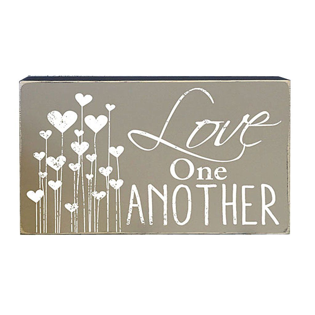 Love One Another Box Sign Decorative Accent Lds Word Art