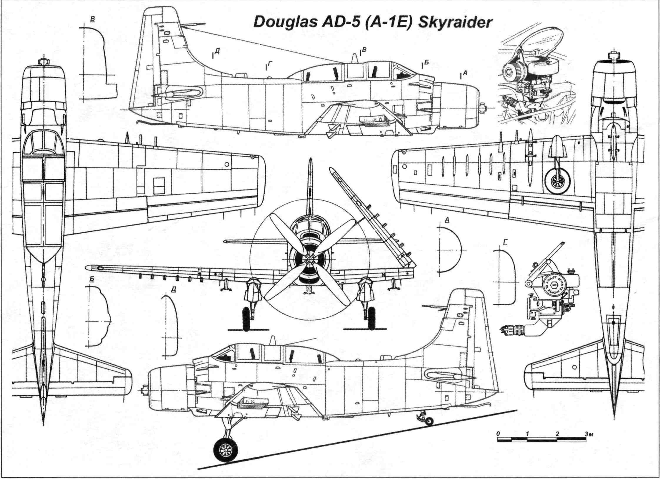 Douglas A 1e Skyraider Blueprint