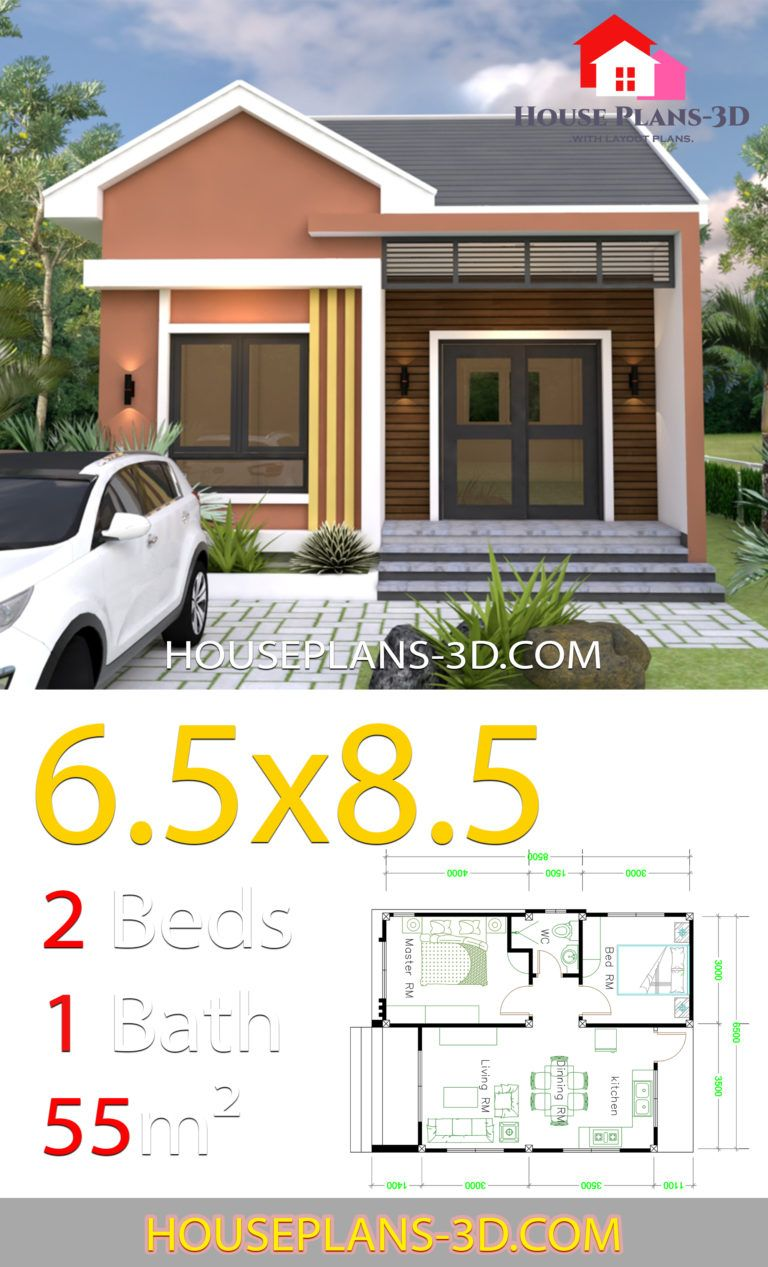 House Design 6.5x8.5 With 2 Bedrooms Shed roof House