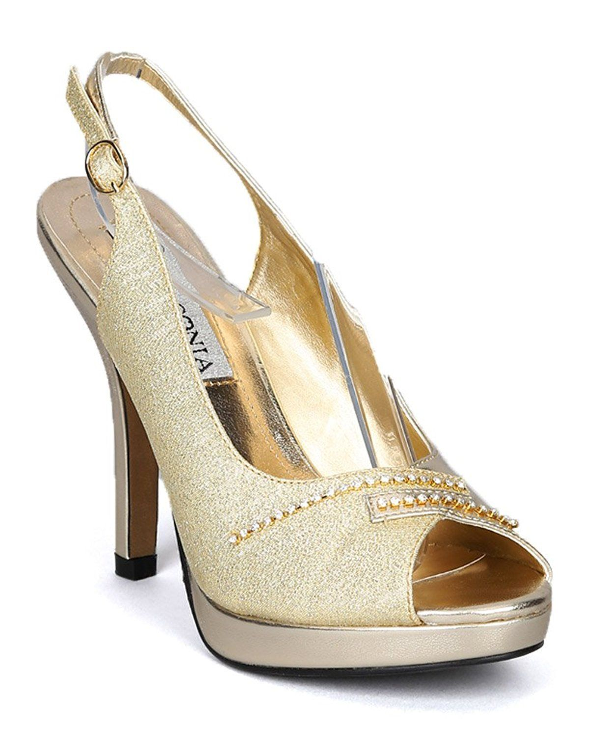 615e61a73b5ae Lasonia S4768 Peep Toe Metallic Glitter Crystal Slingback Buckle Platform  Sandal - Gold Metallic Glitter >>> Check out this great product.