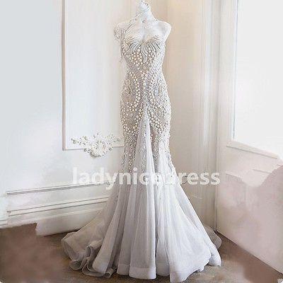 De Lujo Brillante Vestidos para Boda Abalorios Perlas cariño Sirena Personalizado trajes de novia