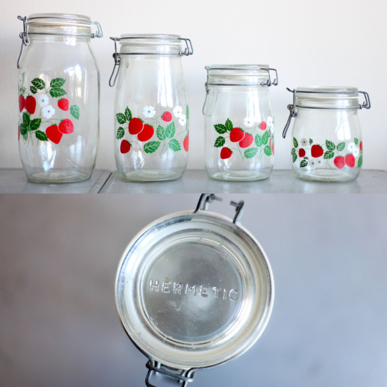 Carlton glass hermetically sealed jars with strawberry print. $35.00 ...