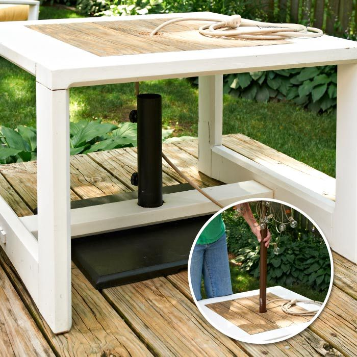 Make A Side Table Umbrella Stand Table Umbrella Patio Umbrella Stand Outdoor Umbrella Stand