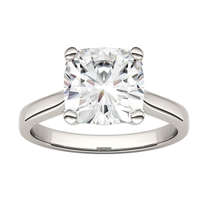 14K White Gold Moissanite by Charles /& Colvard 9.0mm Cushion Solitaire Ring 3.30ct DEW
