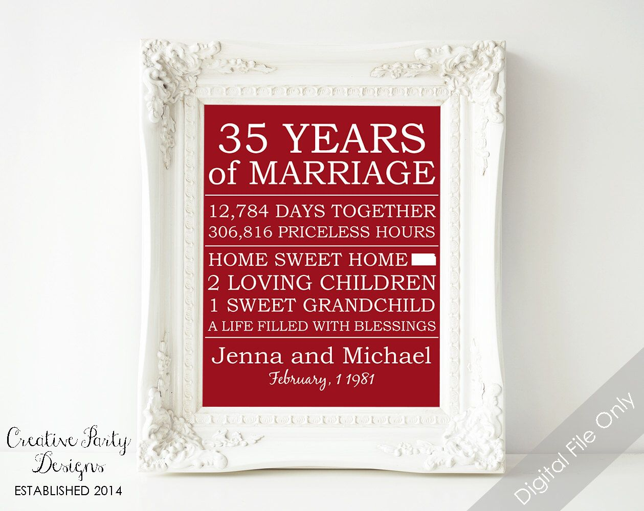 35th Anniversary Gift - Personalized Anniversary Gift for Parents ...