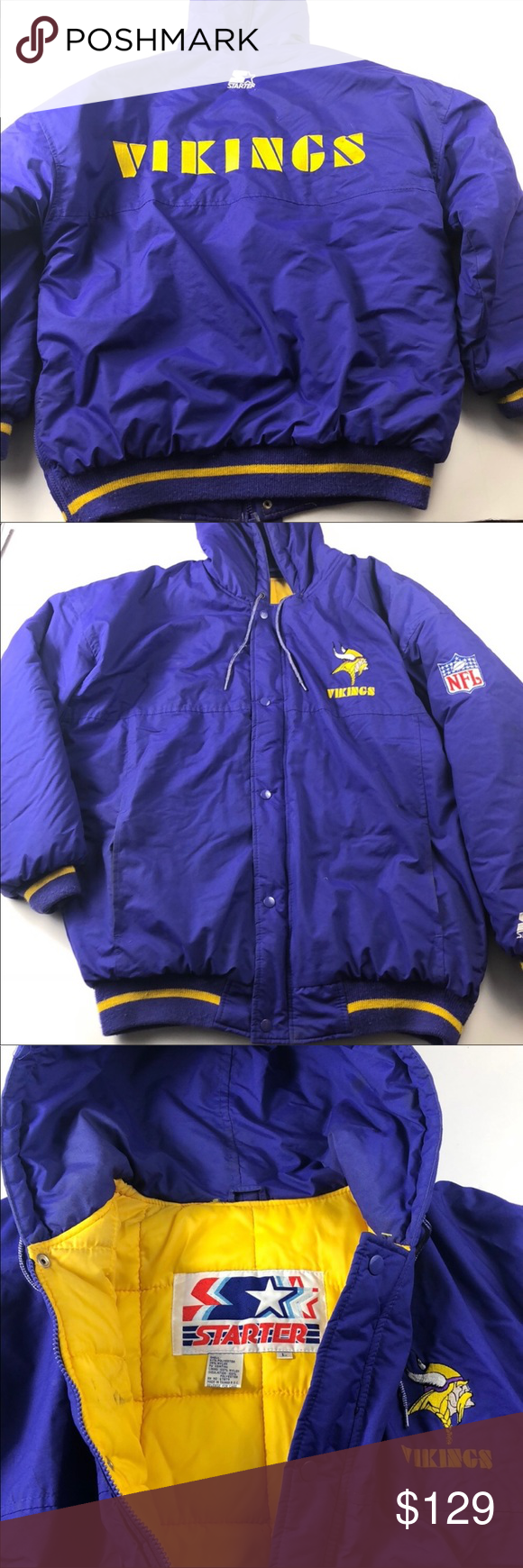 Starter Vintage Minnesota Vikings Winter Jacket Jackets Winter Jackets Clothes Design [ 1740 x 580 Pixel ]