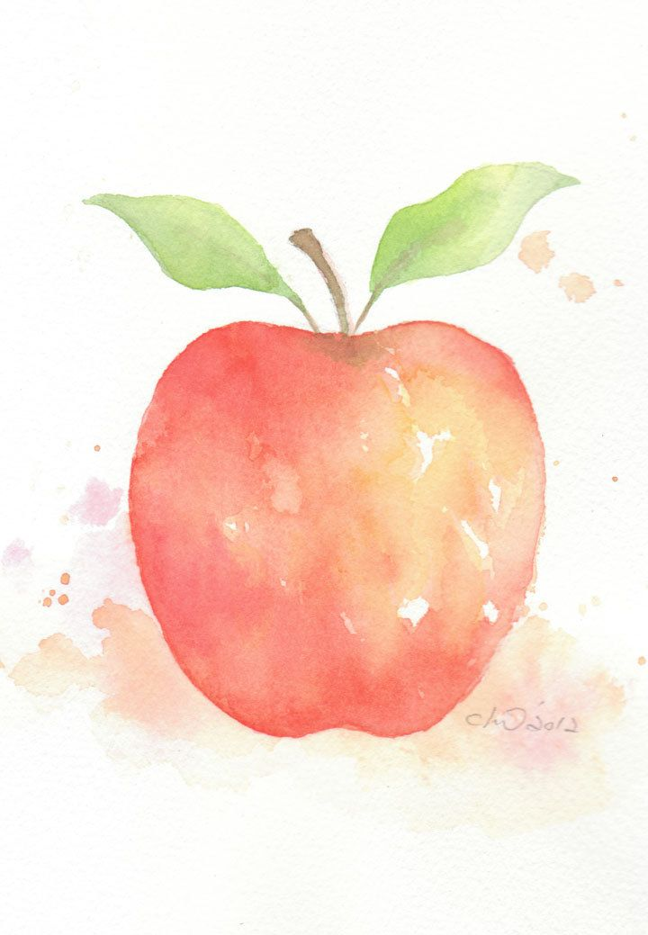 Red Apple Original Watercolor Painting Via Etsy Apple