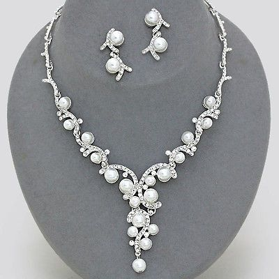 Wedding White Pearl Crystal Bridal Necklace Set Bridesmaid Elegant
