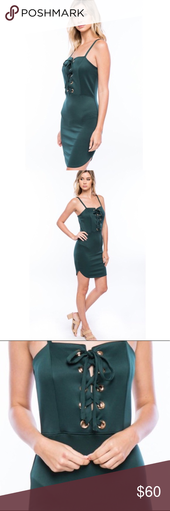 Green lace up dress  New Bodycon LaceUp Front Grommet Dress Boutique