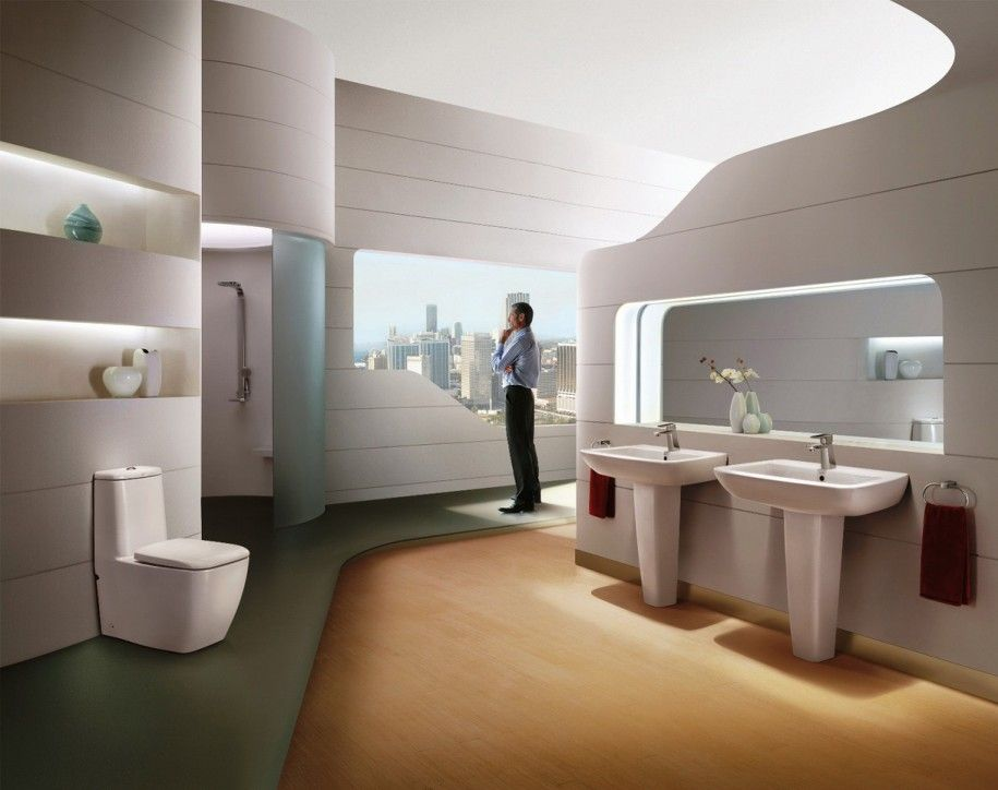 Terrific Futuristic Bathroom Design Ideas With Lots Of Shelves Wall Unit Brown Floor And Smart White Washing Stands Blend