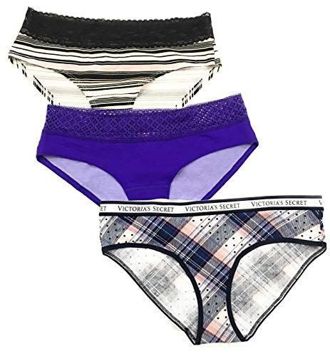 741d1c1432 Victoria s Secret Lace Trim Low-Rise Hiphugger Hipster Panty Set Lot of 3  Size Large (Purple -Striped – Squared).