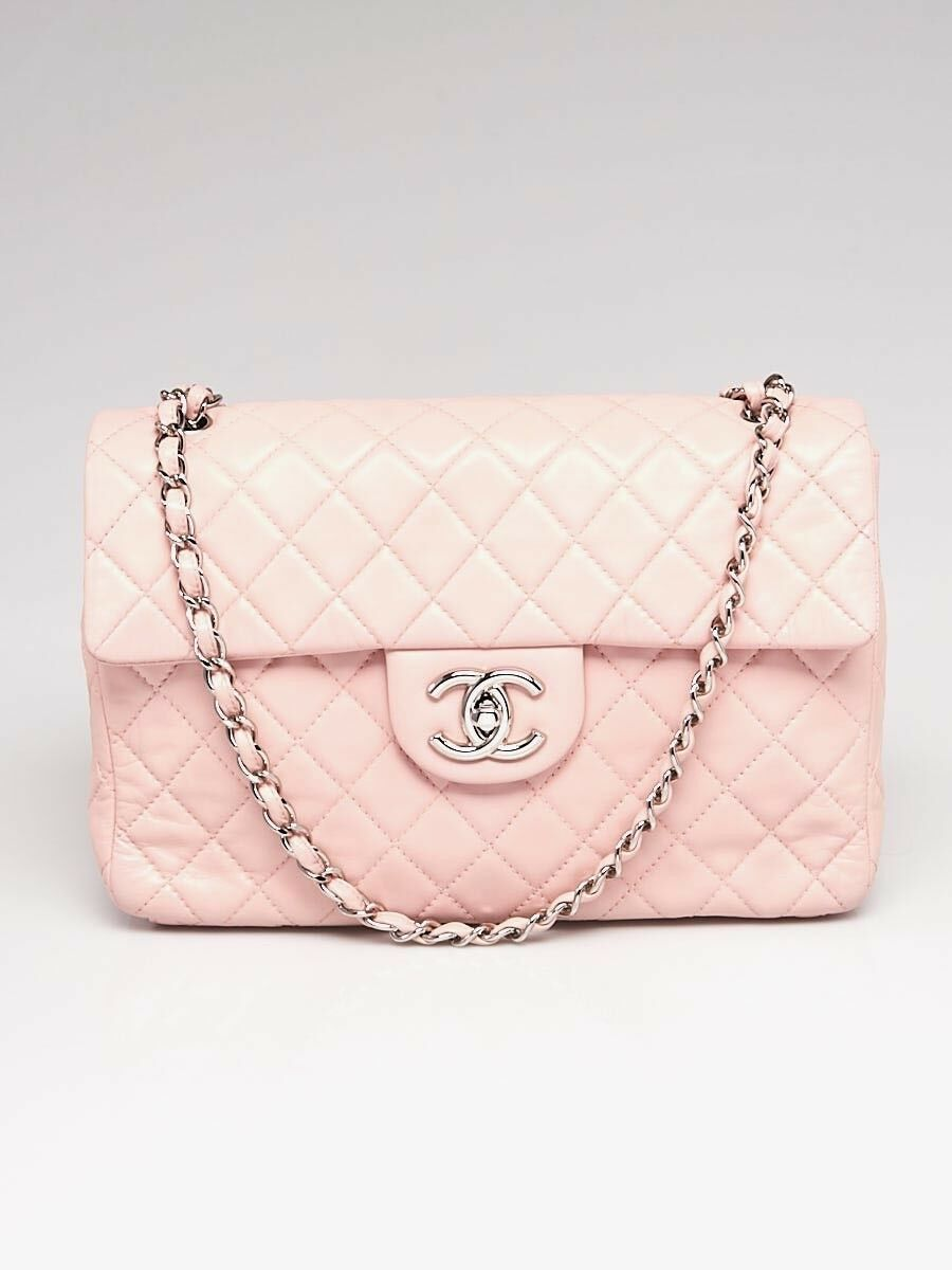 684635b54397 Chanel Light Pink Quilted Washed Lambskin Leather Classic Maxi Jumbo XL  Flap Bag | eBay
