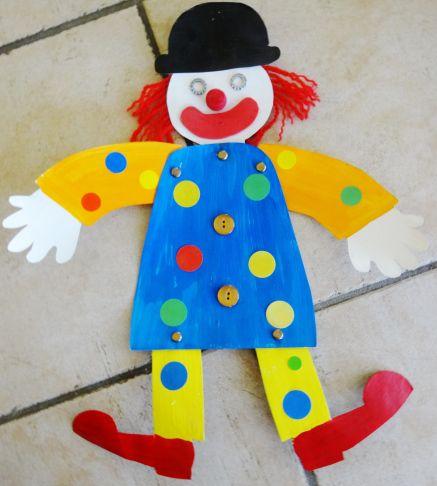 un petit clown pantin … | Activité manuelle cirque, Activité carnaval, Bricolage carnaval