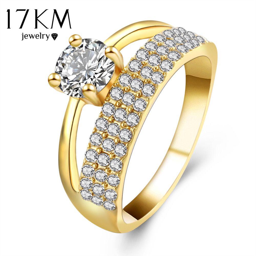 17KM Brand Ring For Women Gold Color Shinning Crystal Zircon Women ...