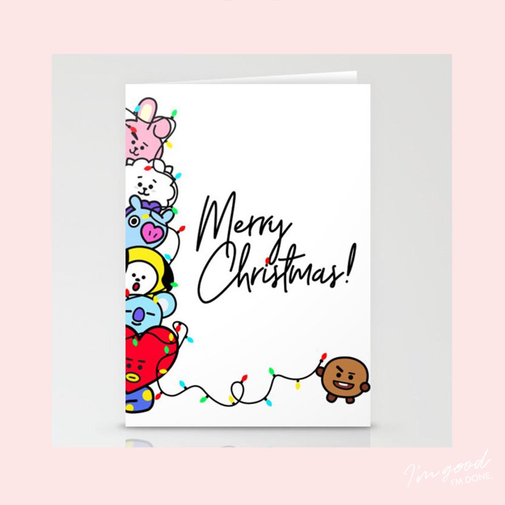 Bt21 Christmas Card Bts Bangtan Shooky Tata Man Chimmy Koya Rj Cooky Birthday Card Drawing Birthday Cards Diy Bts Christmas