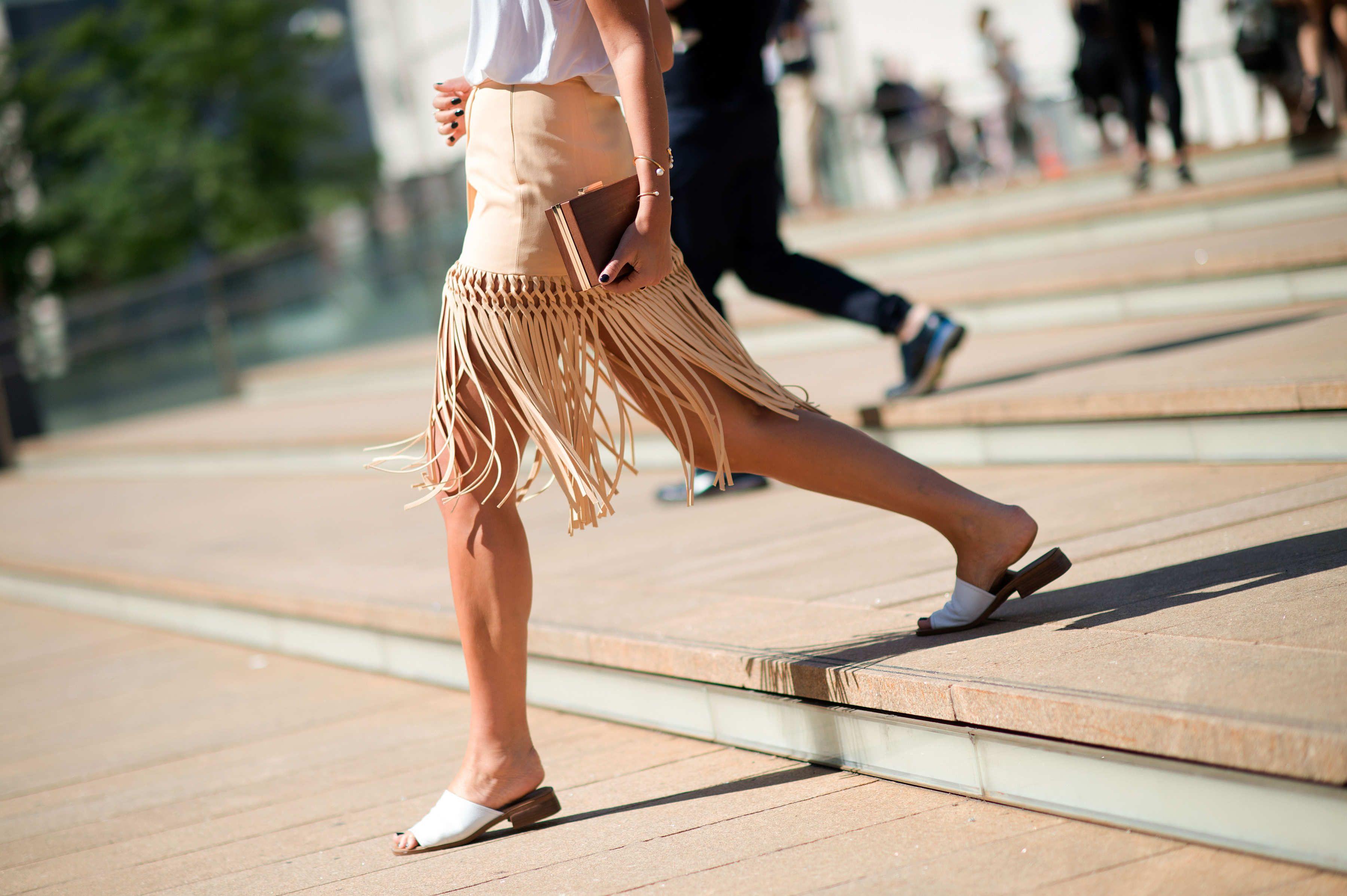 Danielle Bernstein in fringe skirt