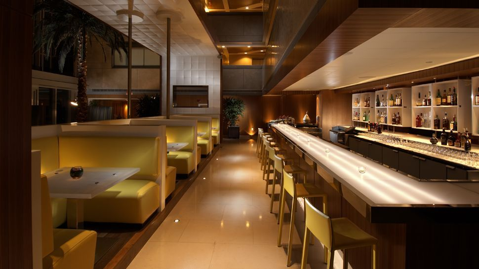 Bar Lounge Hospitality Interior Design Booth Hotel Padded Yellow