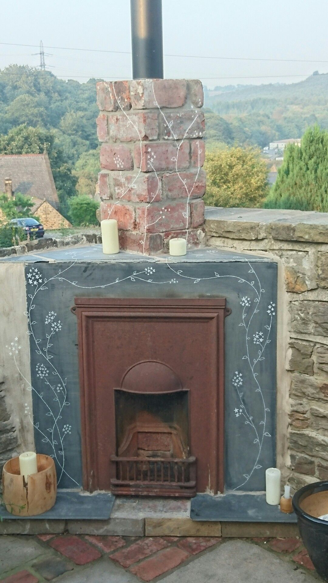 reclaimed cast iron fireplace hand engraved slate fire surround