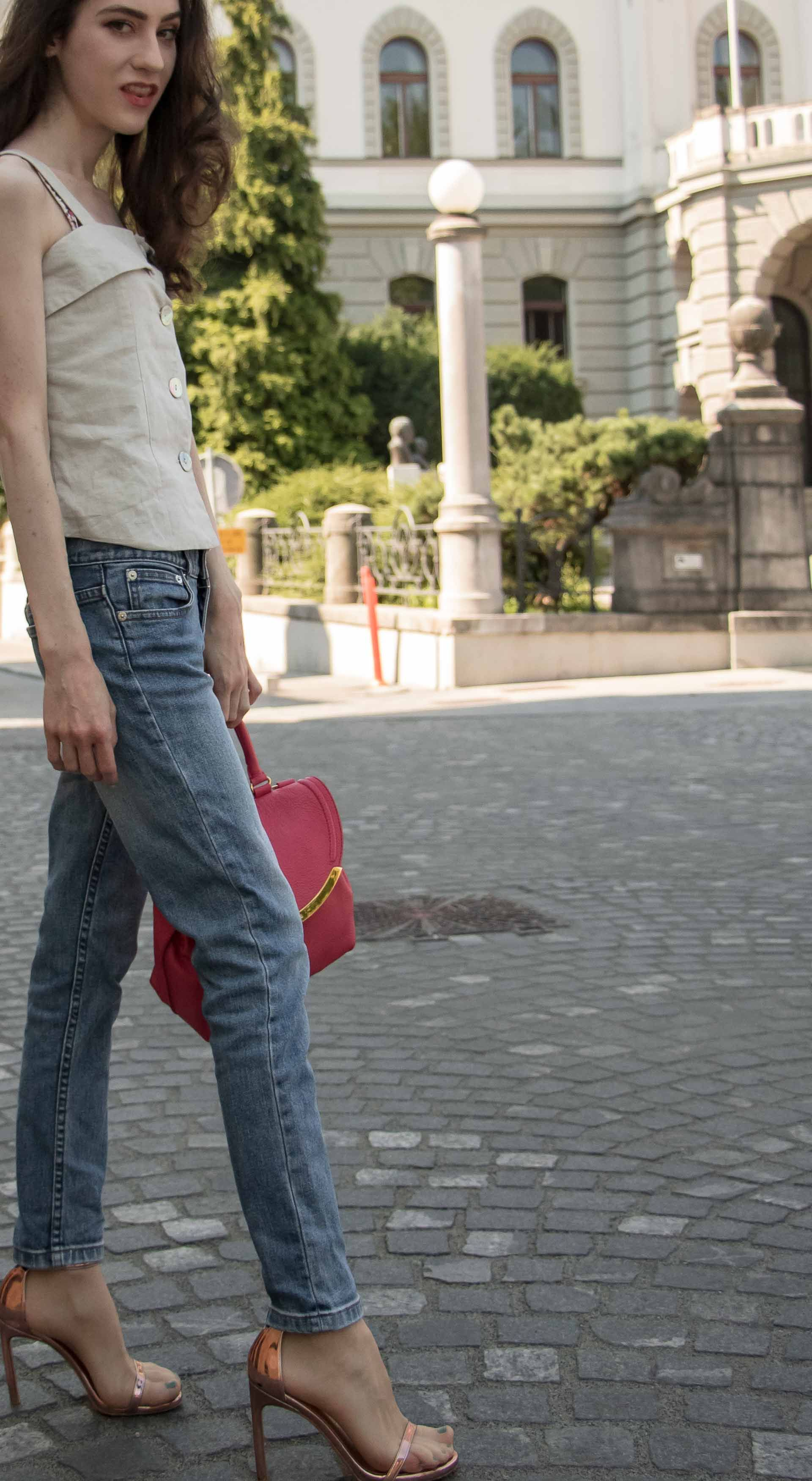 c01d2b94a089 Slovenian Fashion Blogger Veronika Lipar of Brunette from Wall wearing  straight-leg jeans from A.P.C.