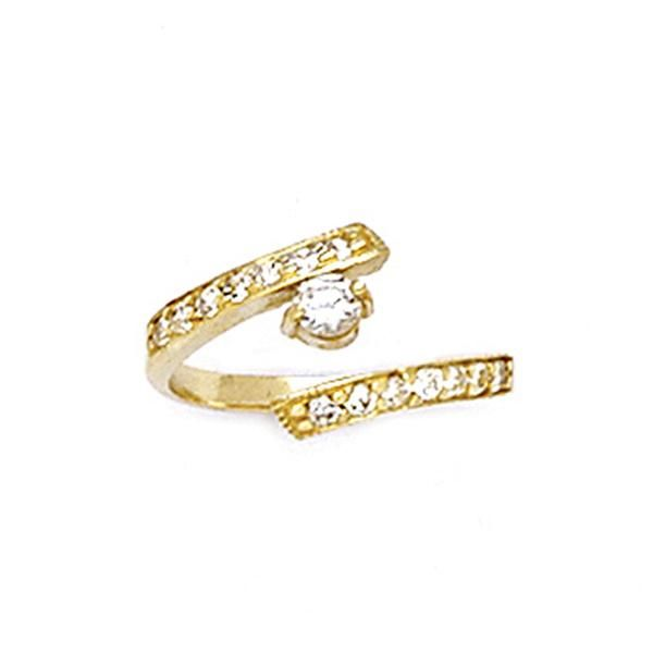 10k Yellow Gold Cz Paved Solitaire Toe Ring Toe Rings Gold Toe Rings Gold Toe