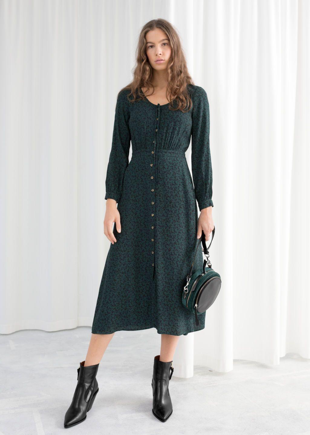 Printed Button Up Midi Dress Midi Dress Print Buttons Dresses [ 1435 x 1025 Pixel ]