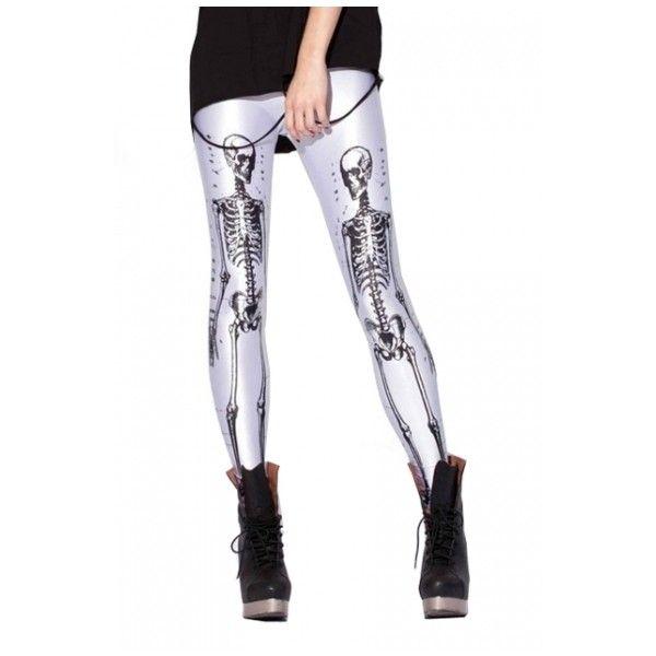 Human Skeleton Skull Pattern Graffiti Skinny Pencil Leggings ($3.21) ❤ liked on Polyvore