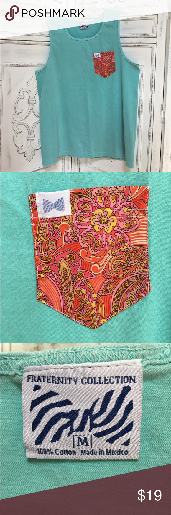 Fraternity Collection Tank Top with Paisley Pocket Size medium. 100% cotton. Great condition! Fraternity Collection Tops Tank Tops