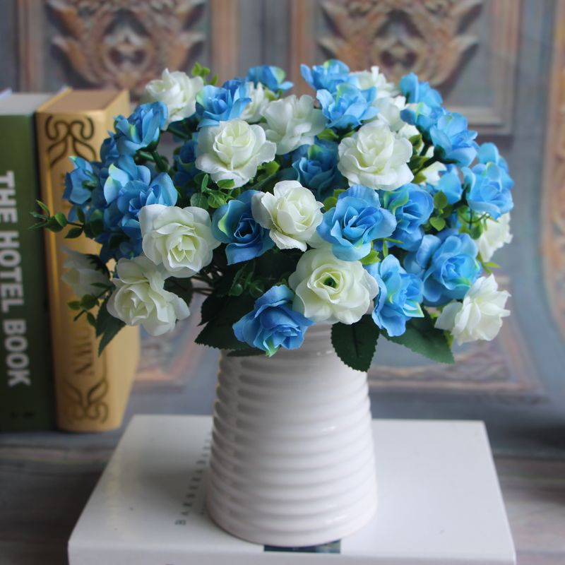 15 heads Spring Fake Silk Flowers Bouquet Artificial Rose Bridal ...
