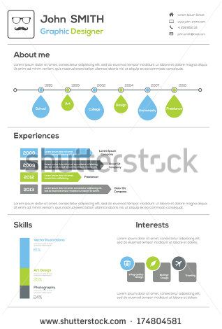 Resume With Infographics and Timeline Vector Illustration CV