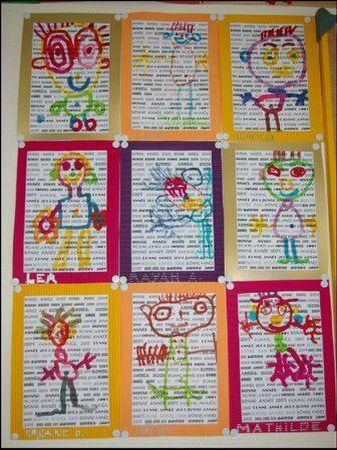write each childs name and print on paper and then draw their portrait on top of it