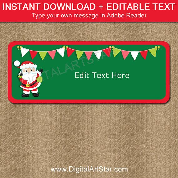 christmas return address labels printable santa labels editable