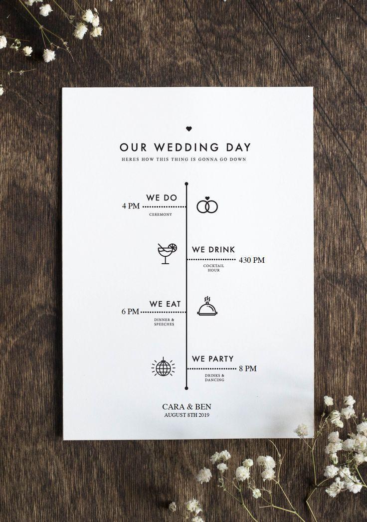 Bearbeitbares Hochzeitsprogramm - Rustikale Minimalistische Hochzeit - DIY Hochz...  #love #instagoo...