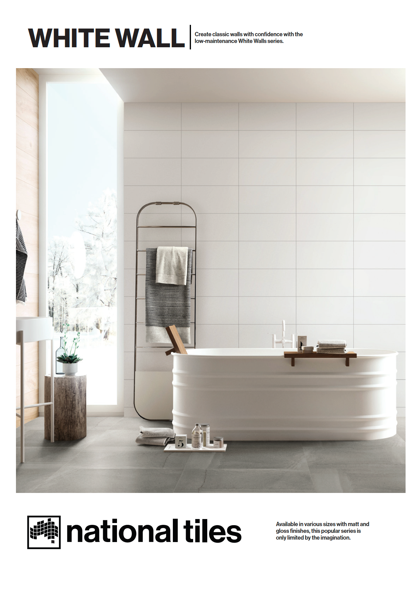 Matt White 300x600 Wall Tile White Bathroom Tiles White Tile Bathroom Walls Modern White Bathroom